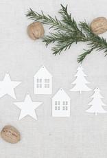 Eulenschnitt Holzanhänger Haus weiß