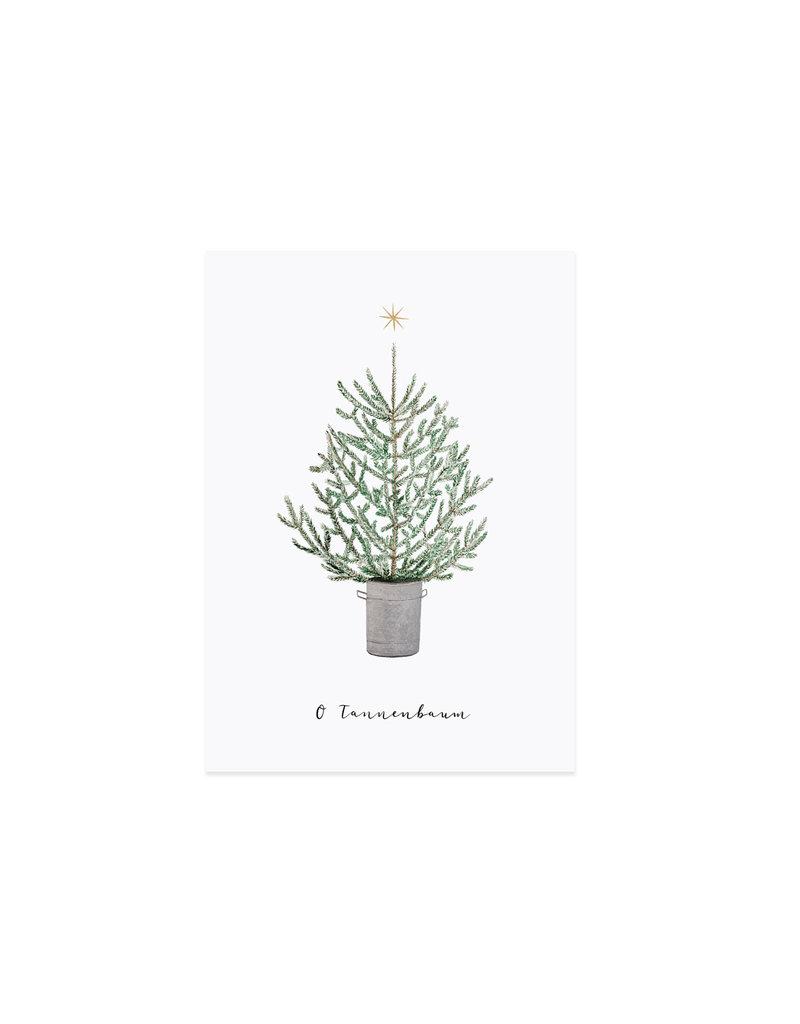Eulenschnitt Weihnachtskarte Tanne