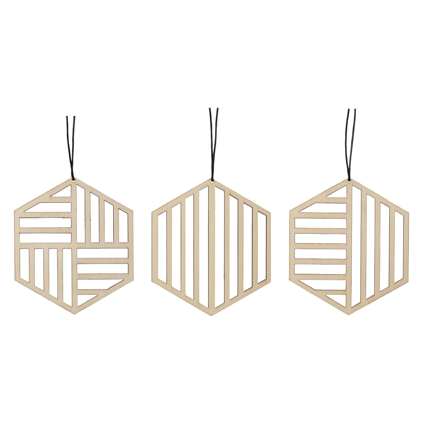 Hübsch Interior Ornament Holz 3er Set Hexa