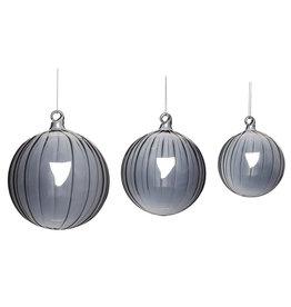 Hübsch Interior Christbaumkugel Glas grey 3er Set