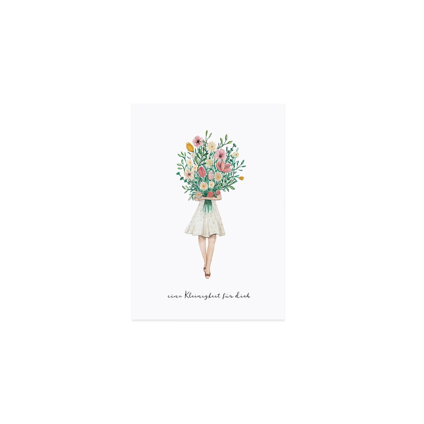 Eulenschnitt Postkarte Blumenmädchen