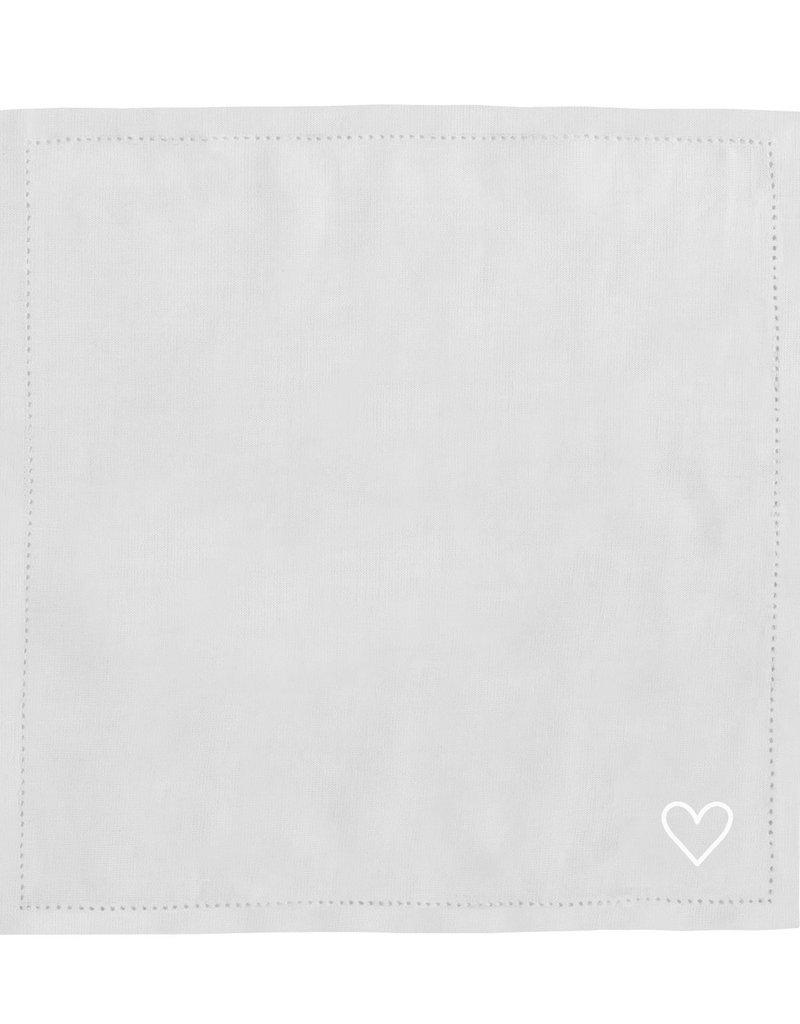 Eulenschnitt Serviette weißes Herz 4er Set