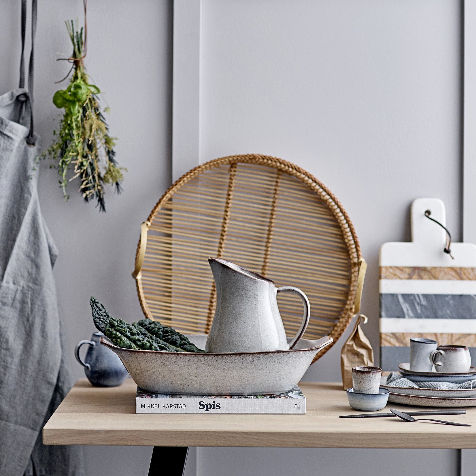 Bloomingville  Sandrine Plate, Grey, Stoneware