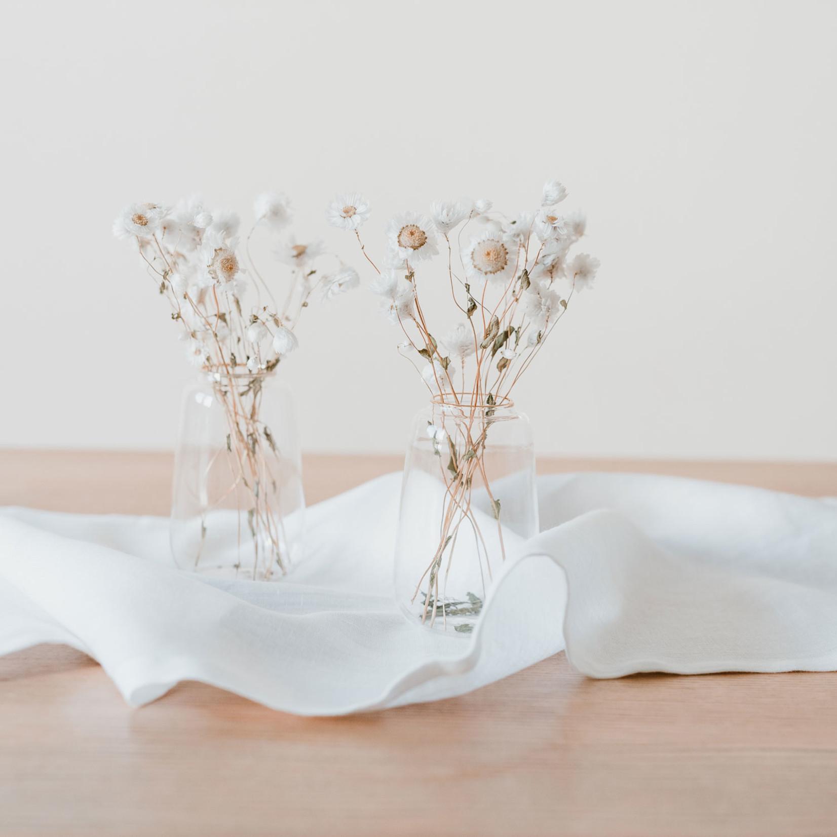 Eulenschnitt Leinen Tischläufer Weiss