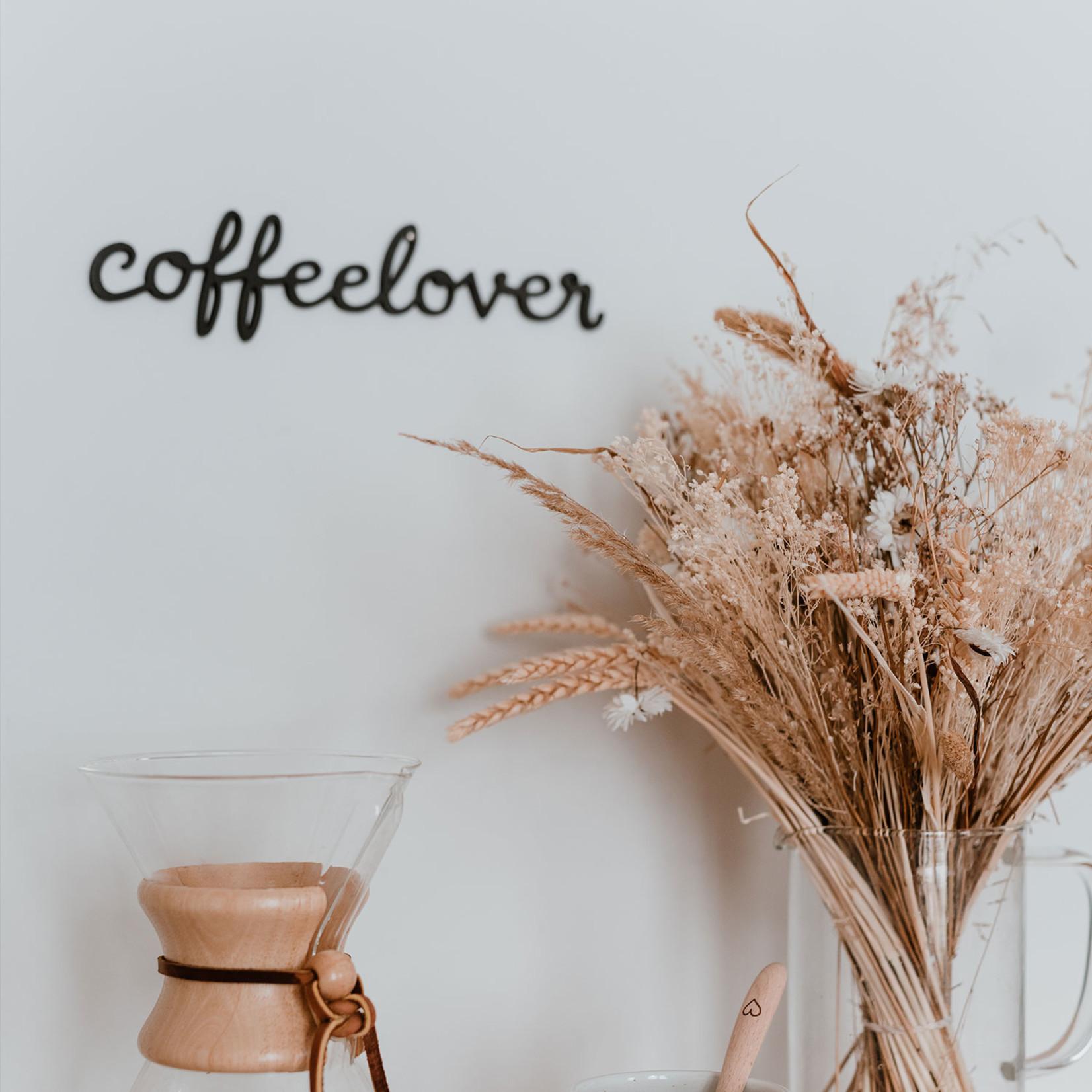 Eulenschnitt Holzschriftzug Coffeelover