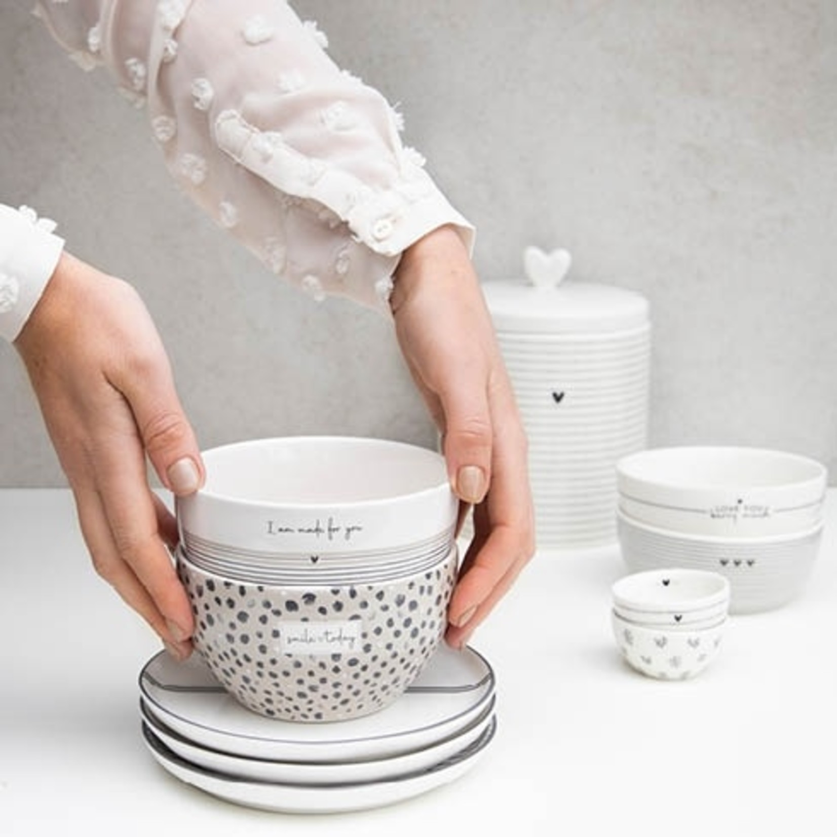 Bastion Collections Bowl White/Stripes Made for You