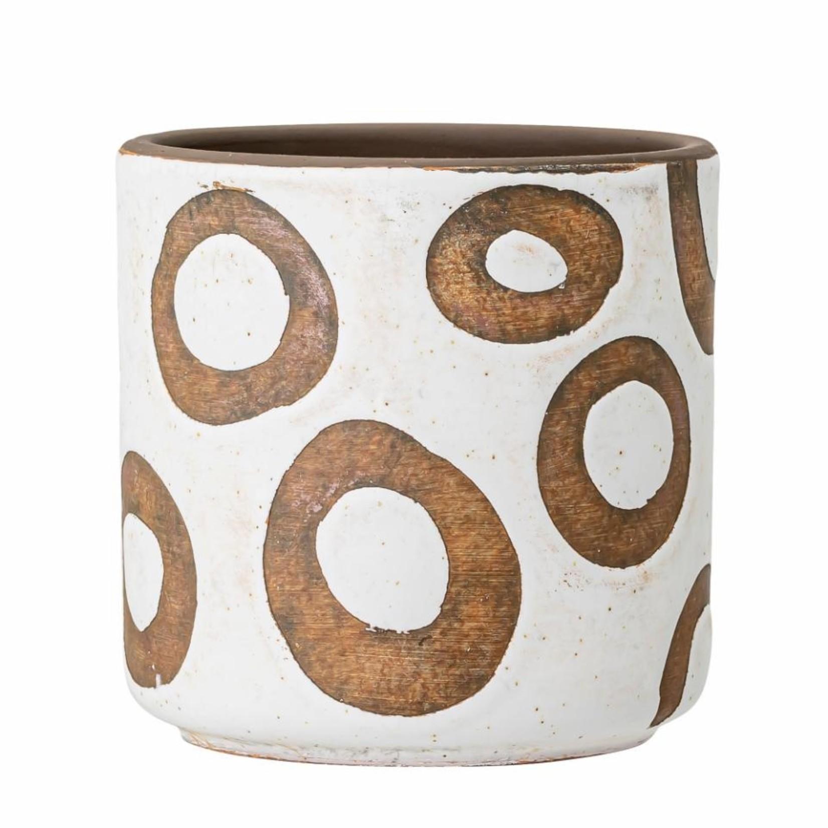 Bloomingville  Avo Deco Flowerpot, White, Terracotta
