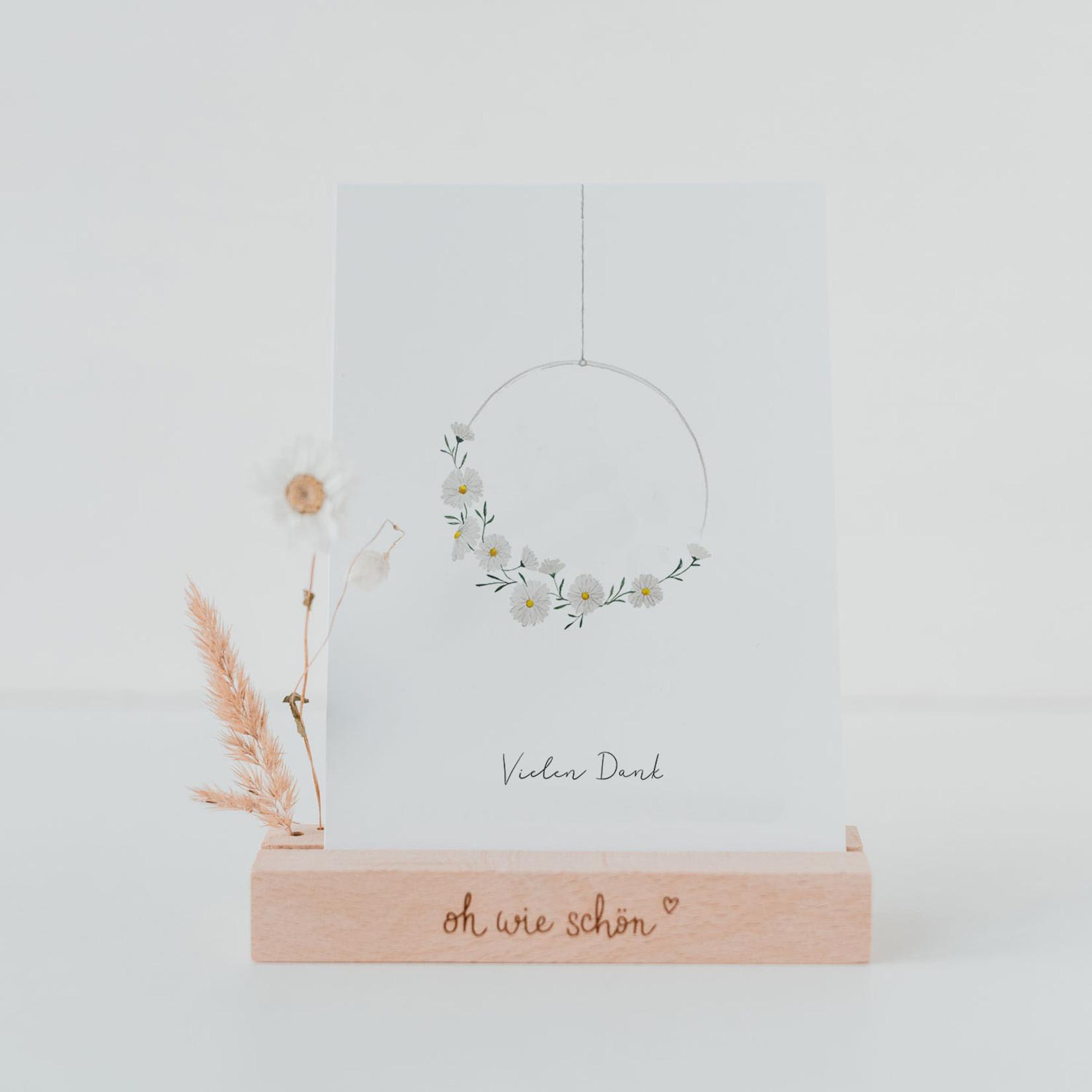 Eulenschnitt Dankeskarte Blumenkranz