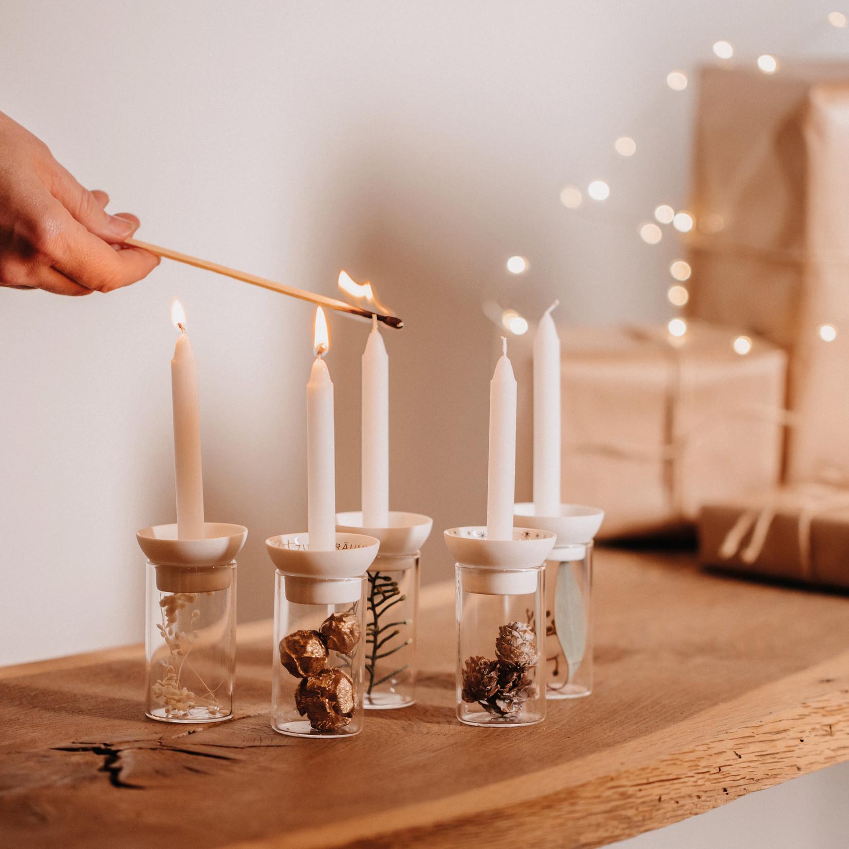 Räder Design kleiner Kerzenständer auf Glas neutral