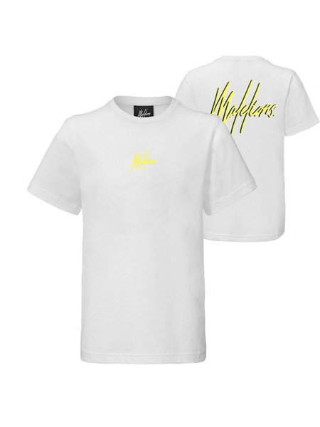 Malelions Kids Double Signature T-Shirt - Wit/Geel