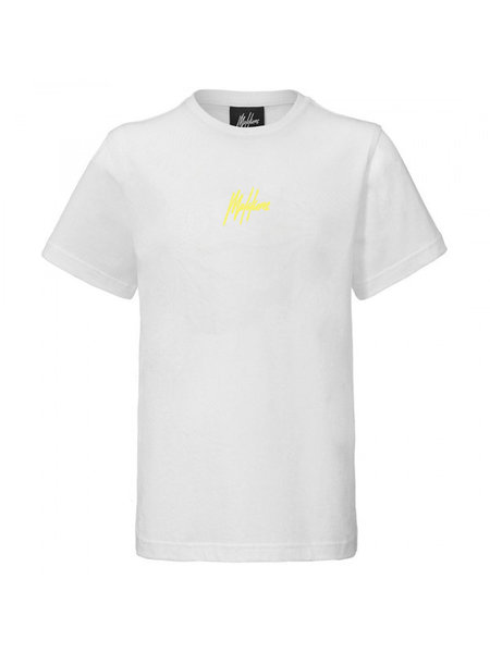 Malelions Malelions Kids Double Signature T-Shirt - Wit/Geel