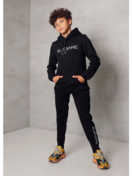 2LEGARE Kids Embroidery Jogger - Zwart/Wit