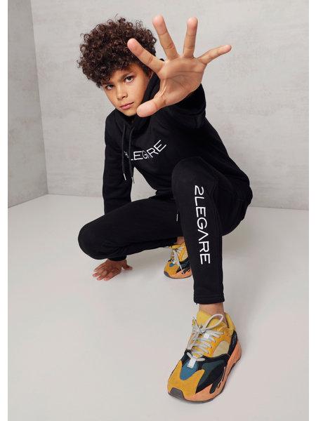 2LEGARE 2LEGARE Kids Embroidery Jogger - Zwart/Wit