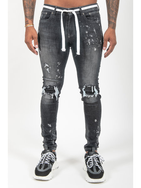 Malelions Ripped & Repaired Jeans - Zwart
