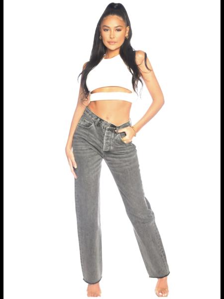 La Sisters Straight Leg Jeans - Grijs