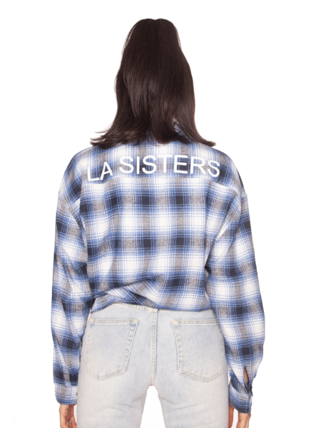 La Sisters La Sisters Oversized Check Blouse - Blauw