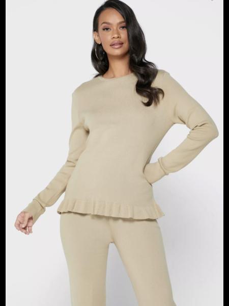 NA-KD Knitted Long Sleeve Top - Khaki
