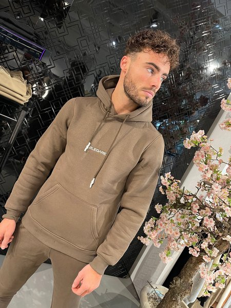 2LEGARE Small Logo Hoodie - Taupe/Wit