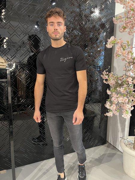 2LEGARE 2LEGARE Embroidery Signature T-Shirt- Zwart/Wit