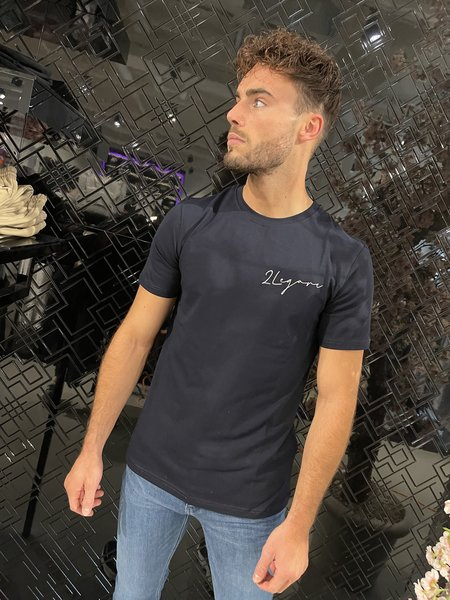 2LEGARE 2LEGARE Embroidery Signature T-Shirt - Navy/Wit