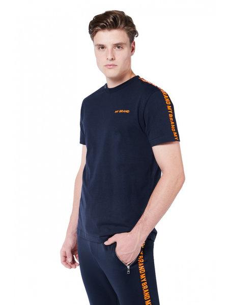 My Brand Tape T-Shirt - Blauw/Oranje