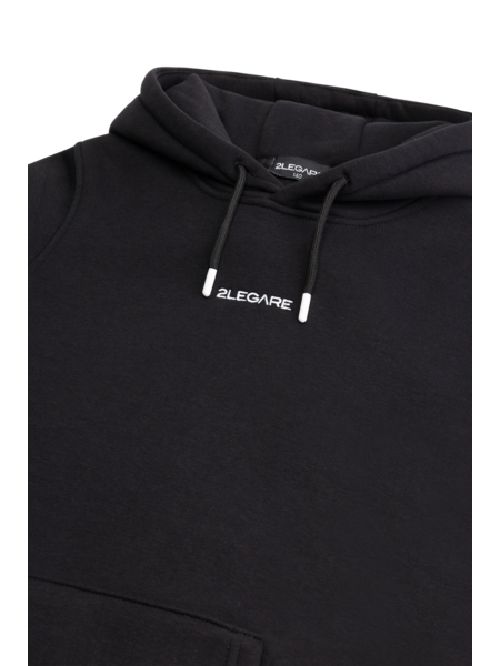 2LEGARE 2LEGARE Kids Embroidery Small Logo Hoodie - Zwart/Wit