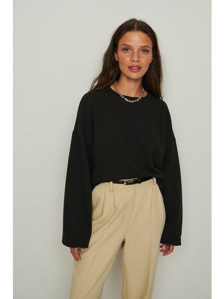 NA-KD Cropped Chunky Sweater - Zwart