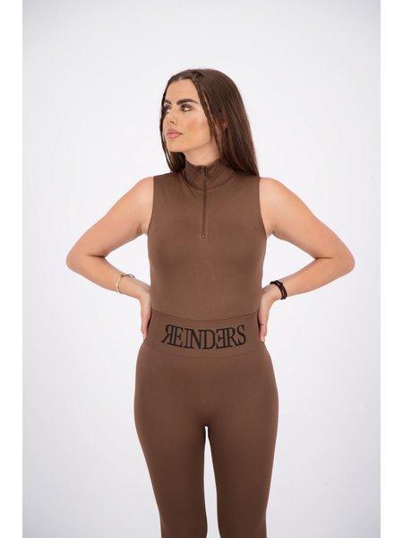 Reinders Turtleneck Short Sleeves Zipper Body - Dark Brown