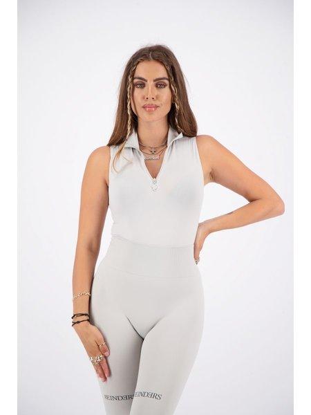 Reinders Turtleneck Short Sleeves Zipper Body - Quiet Gray