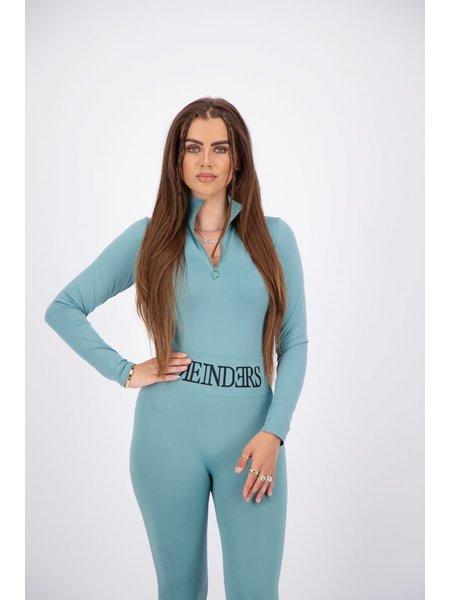 Reinders Turtleneck Long Sleeves Zipper Body - Mineral Blue