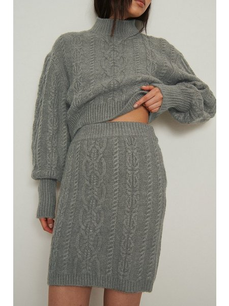 NA-KD Cable Knitted Rok - Grijs