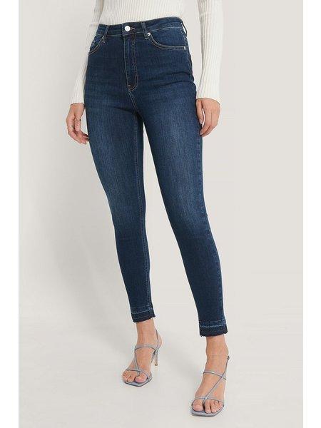 NA-KD High Waist Skinny Spijkerbroek - Donkerblauw