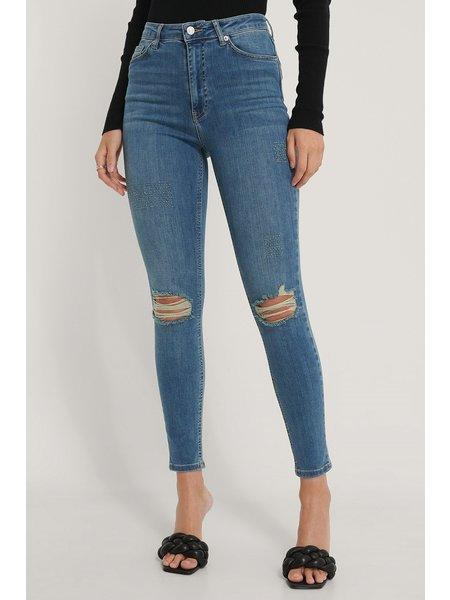 NA-KD Skinny High Waist Destroyed Jeans - Blauw