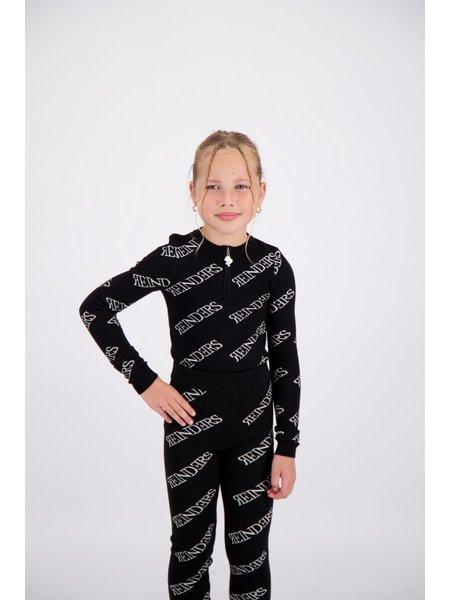 Reinders Kids Zipper All Over Print Top - Zwart