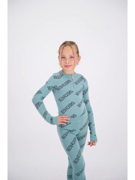 Reinders Kids Zipper All Over Print Top - Mineral Blue