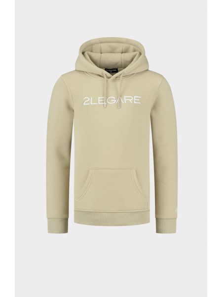 2LEGARE Kids Embroidery Hoodie - Sand/Wit