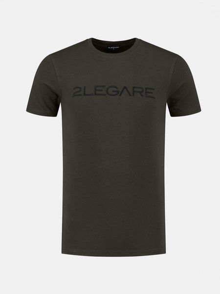 2LEGARE Embroidery T-Shirt - Army/Zwart