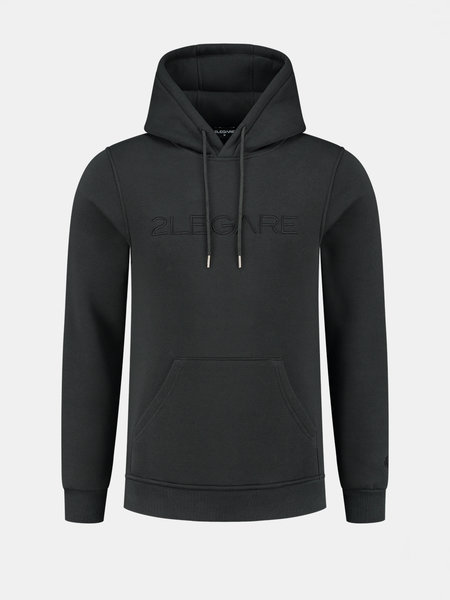 2LEGARE Embroidery Hoodie - Antra/Zwart