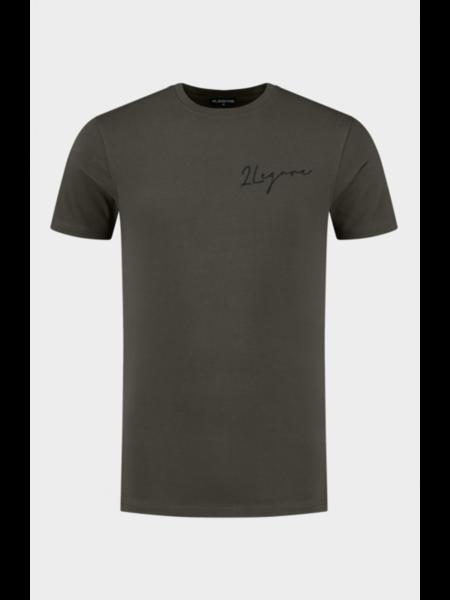 2LEGARE Embroidery Signature T-Shirt - Groen/Zwart