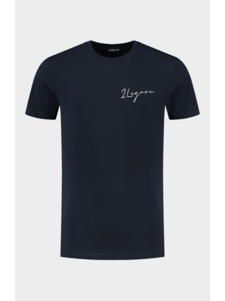 2LEGARE Embroidery Signature T-Shirt - Navy/Wit