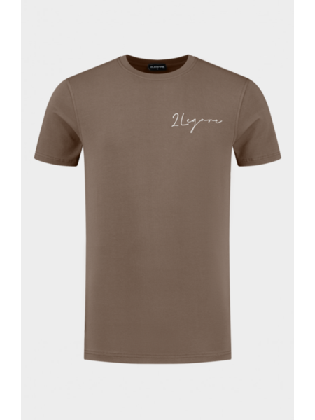 2LEGARE 2LEGARE Embroidery Signature T-Shirt - Taupe/Wit