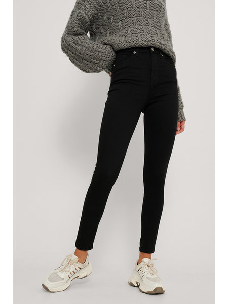 NA-KD Skinny High Waist Jeans - Zwart