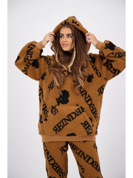 Reinders Teddy Hoodie With All Over Print - Almond