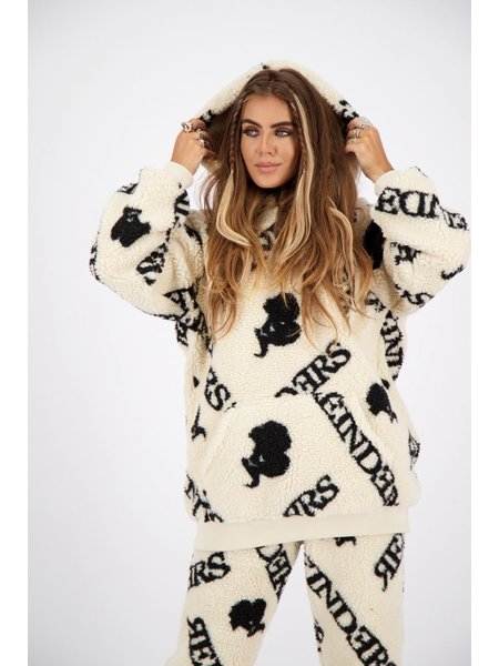 Reinders Teddy Hoodie With All Over Print - Creme