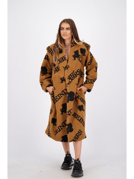 Reinders Teddy Coat Long With All Over Print - Almond