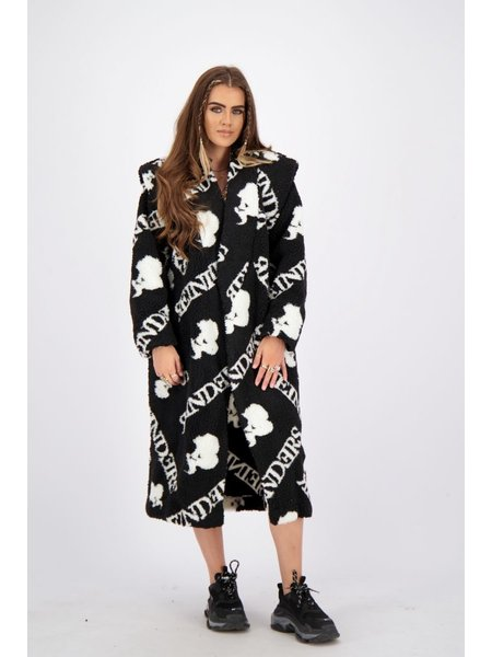 Reinders Teddy Coat Long With All Over Print - True Black