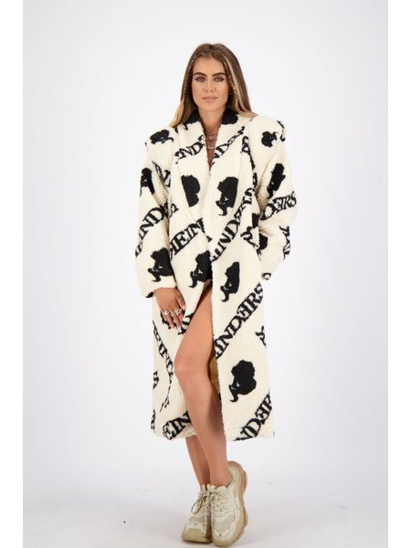 Reinders Teddy Coat Long With All Over Print - Creme