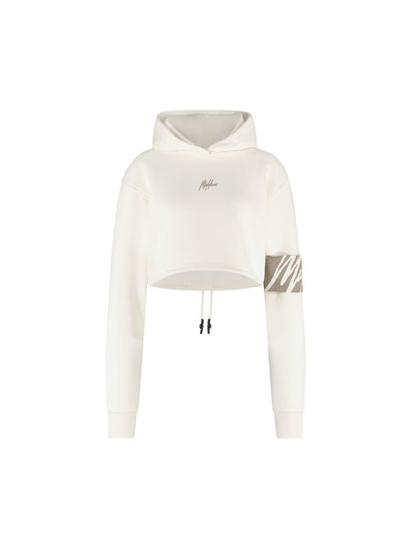 Malelions Women Captain Crop Hoodie - Off-White/Taupe