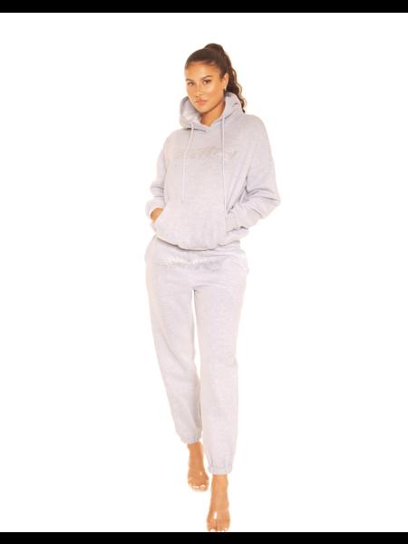 La Sisters Rhinestone Wifey Sweatpants - Grey
