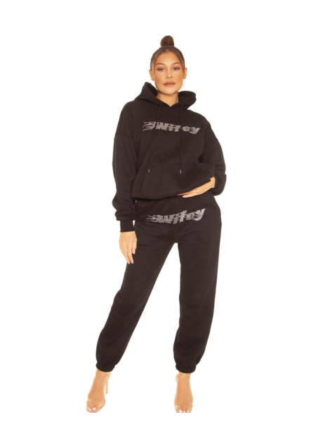 La Sisters Rhinestone Wifey Sweatpants - Black